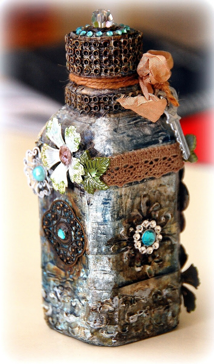 Altered Bottle by Irene Tan using BoBunny Products