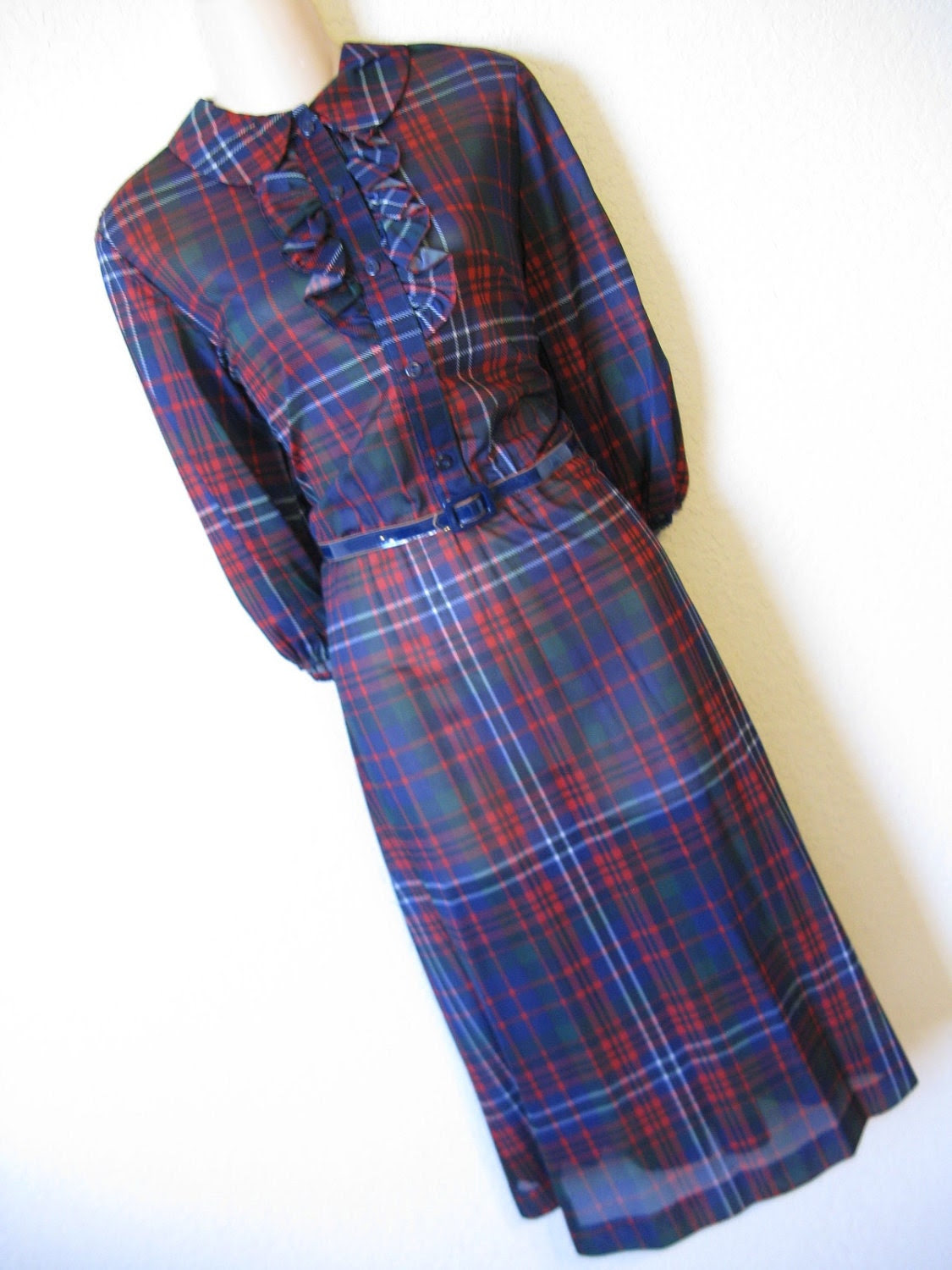 mad for plaid. 1970's navy and red tartan dress. ruffle bodice. medium. new old stock.