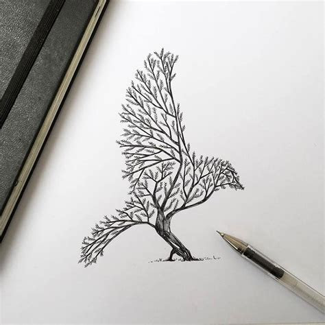 trees grow  majestic animals   ink