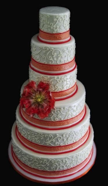 6 tier round wedding cake with red bands Hi Res 720p HD