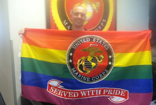 LOOK: Gay Marine Receives Rainbow Flag From His Unit On Last Day Of Service