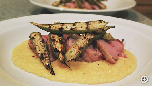 Bacon Wrapped Pork Tenderloin, Seared Okra and Pimento Cheese Grits