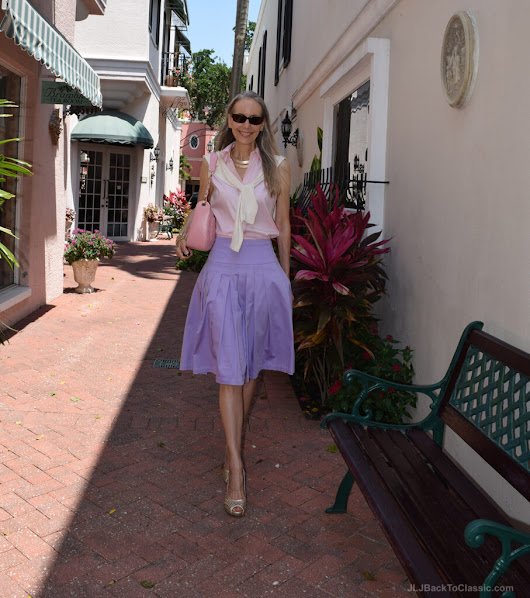 Color Blocking How To:  Lavender Fit and Flare Midi Skirt With A Pink Shirt and Cardigan | JLJ Back To classic