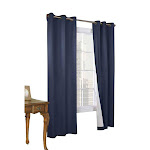 Thermalogic Weather Cotton Fabric Grommet Top Window Panel Pair Navy - 40 x 95 Navy