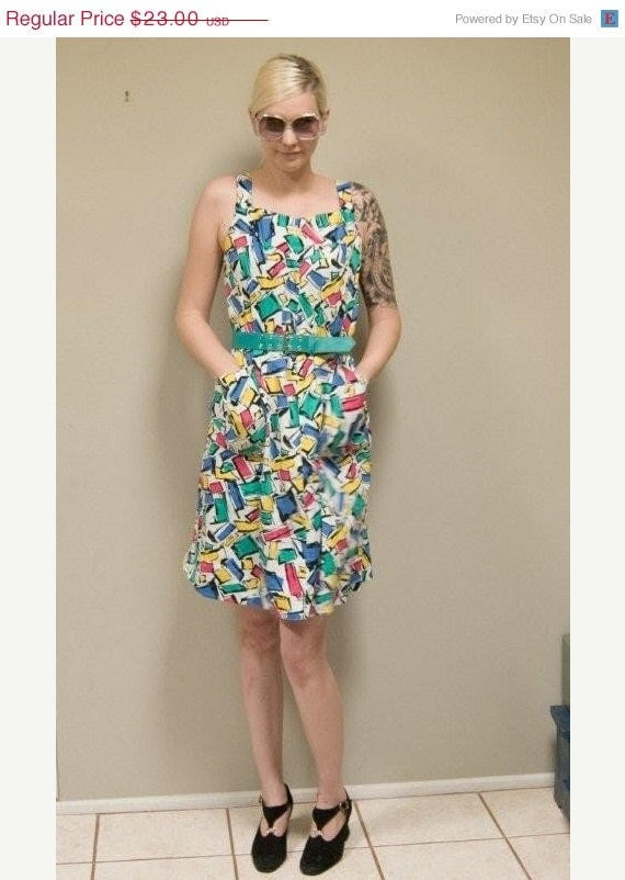 30% OFF Trapeze Dress Pink Yellow Green and Blue Color Block