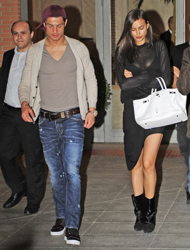 The day before: Ronaldo was snapped leaving the restaurant with his girlfriend the day before the alleged tryst. She looked furious