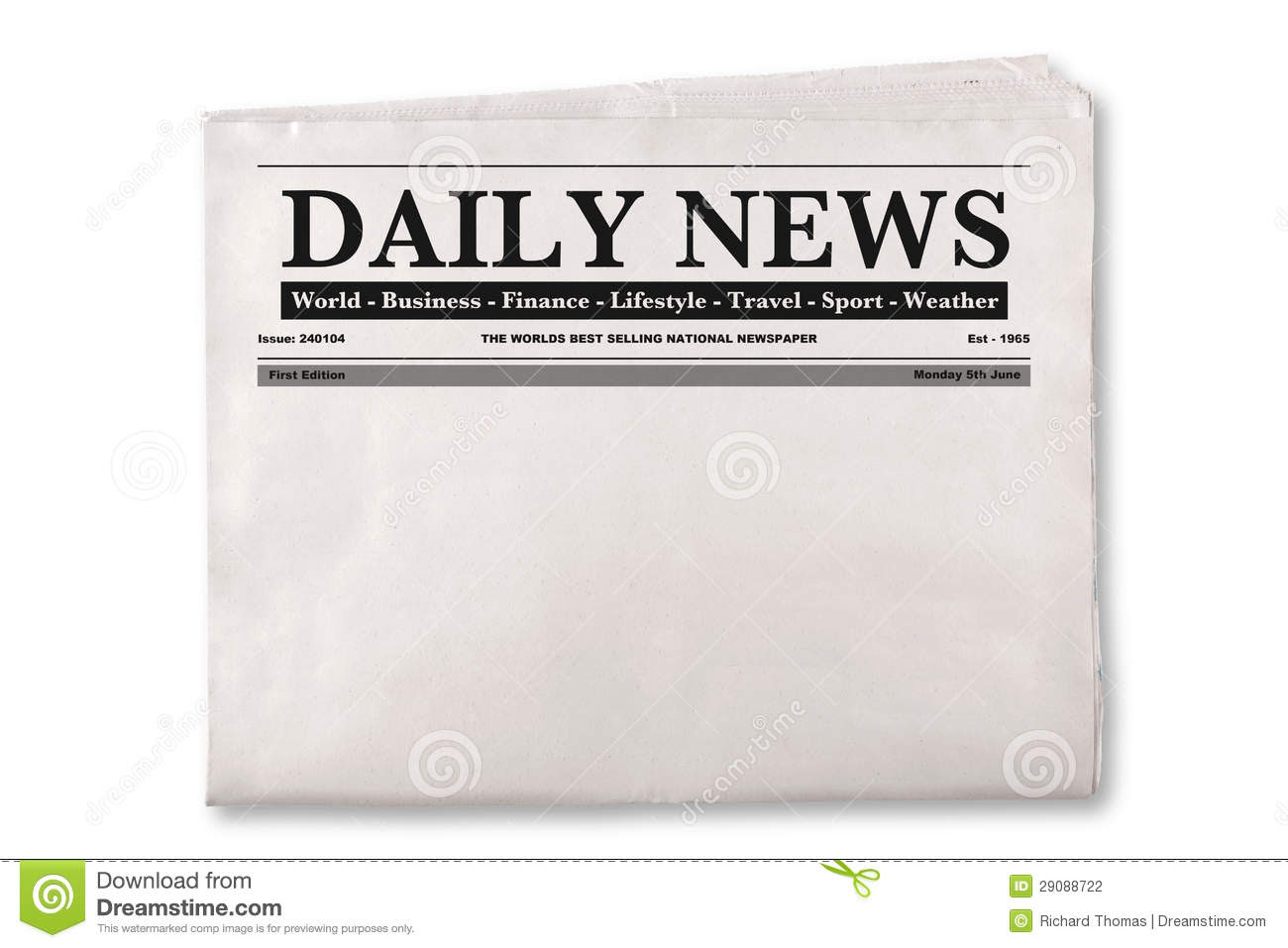 Blank Newspaper Frontpage Royalty Free Stock Photography - Image ...
