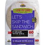 Tumaros Low-In-Carb Wraps, 9 Grain with Chia - 8 wraps, 11.2 oz