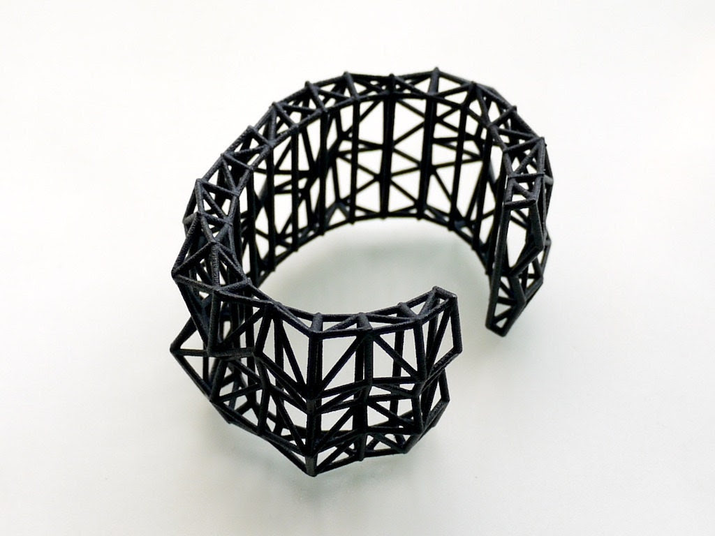 geometric jewelry- Faceted Cuff bracelet in Black. modern design 3D printed. spring fashion gifts, statement jewelry - ArchetypeZ