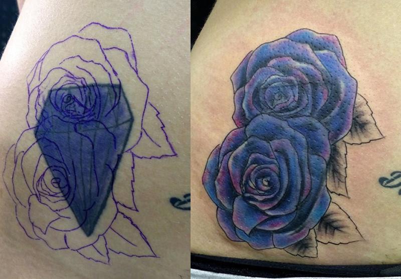Cover Diamante Rosas Tripa Mujer 1 Acme Tattoo Tatuaje Tatuajes Online