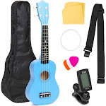 Best Choice Products 21in Acoustic Basswood Ukulele Starter Kit w/ Gig Bag, Strap, Tuner, Extra Strings - Blue