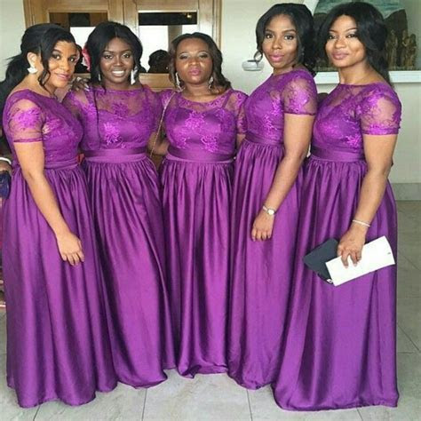 Purple Lilac African Bridesmaids Dresses Long Floor Length