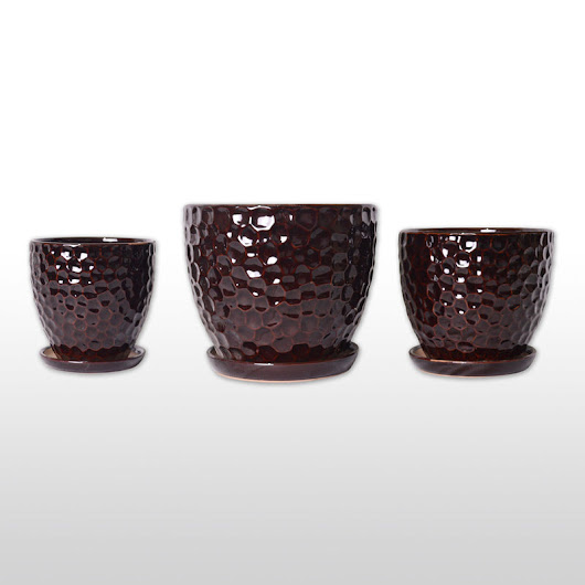 A Trio of Ceramic Planters with Trays - Three Pots/Planters in Burgundy Concave Surface Design