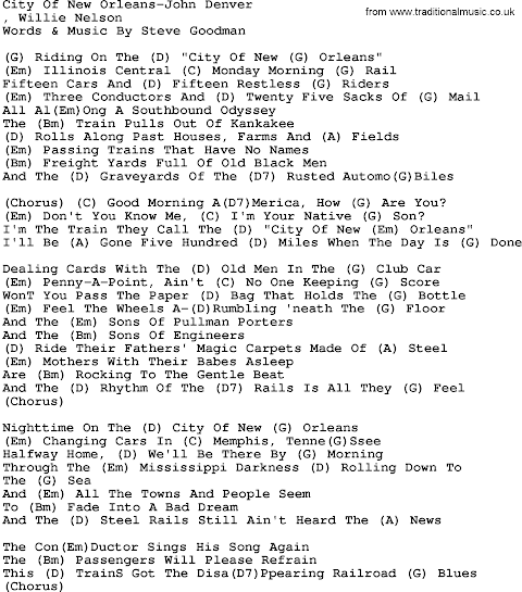 City Of New Orleans Lyrics John Denver
