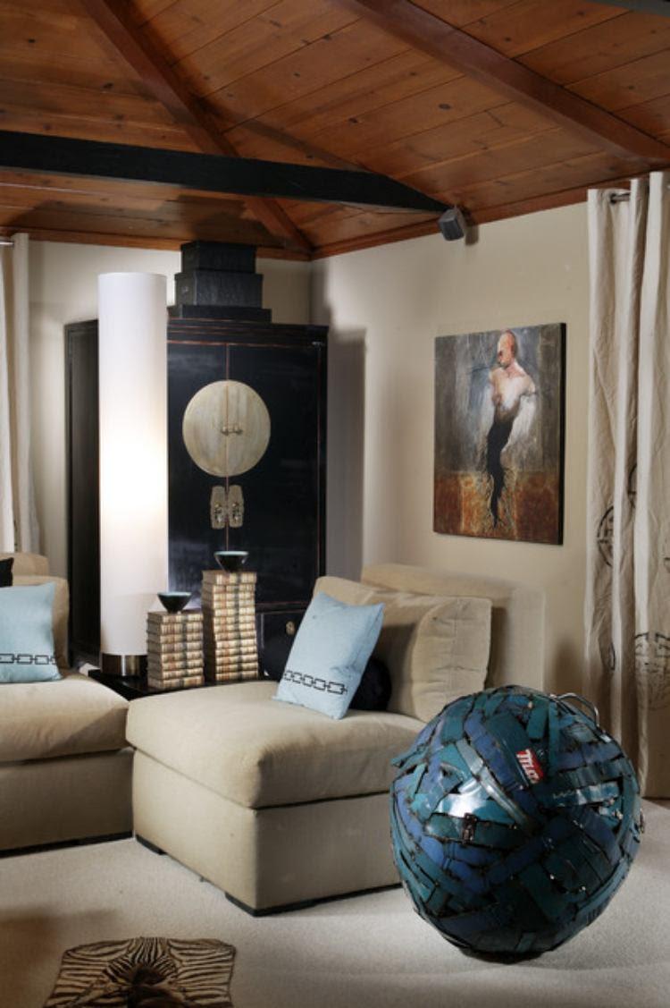 Wohnzimmer Deko mit Skulpturen und Kunstwerken - 50 Ideen