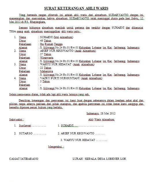Contoh Surat Pernyataan Ahli Waris Untuk Menjual Tanah ...