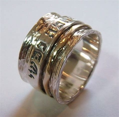 WIDE Jewish Wedding ring Spinning Band Hebrew verse 925