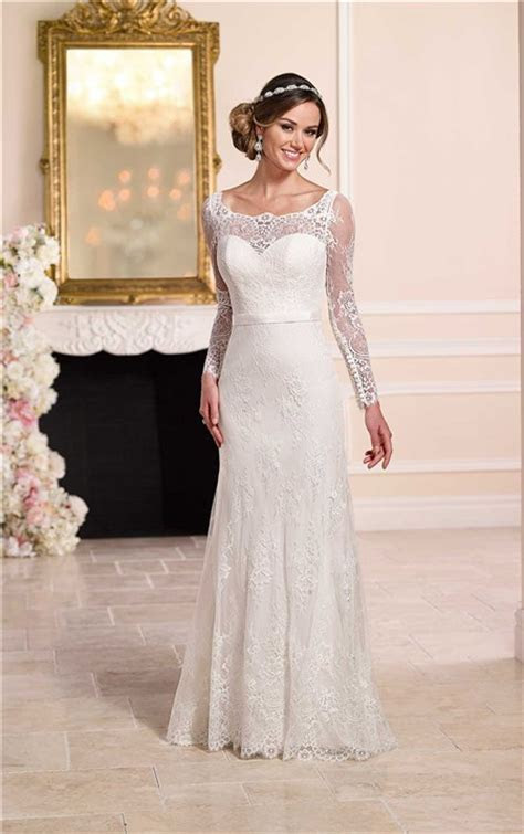 Fitted Boat Neck Backless Ivory Lace Long Sleeve Wedding