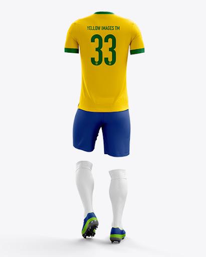 Download Full Soccer Kit Back View Jersey Mockup PSD File 39.8 MB