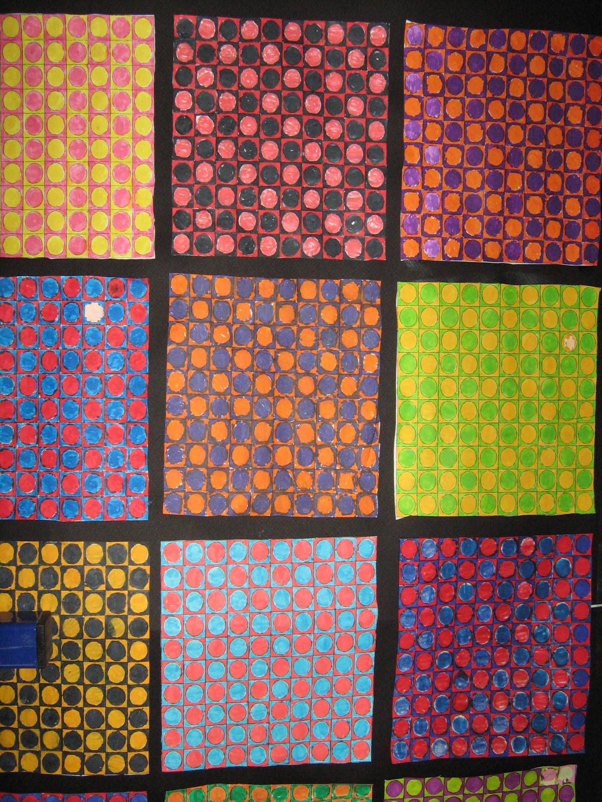 coloriages des él¨ves  la mani¨re de Vasarely suite