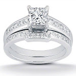 Pompeii 3 - 1ct Princess Cut Channel Set Diamond Wedding Engagement Ring 14K White Gold
