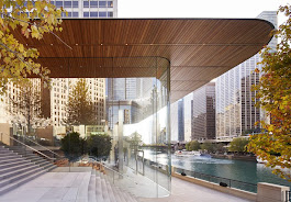 macbook-roofed apple store opens on chicago's riverfront