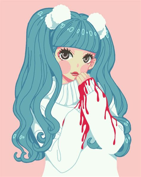 anime manga pastel pastelgoth kawaii girl aesthetic blu