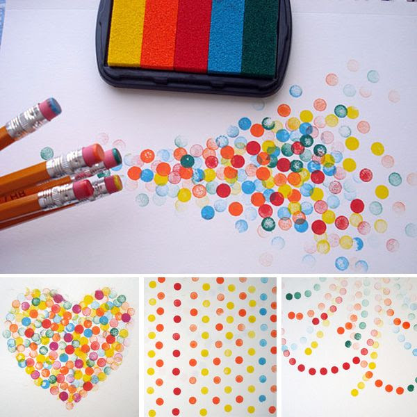 stamping with pencil erasers