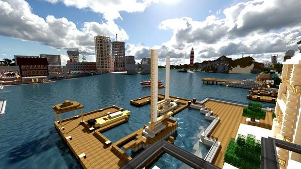Um porto do mundo real transportado para Minecraft (Foto: Reprodução)