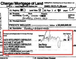 Sean Murray dari Sakto selaku penerima pinjaman berjumlah $20 juta dari isteri Taib dan syarikat kembar milik Regent Star, Richfold Investments Limited