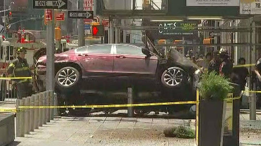 Car jumps curb, hits pedestrians in Times Square