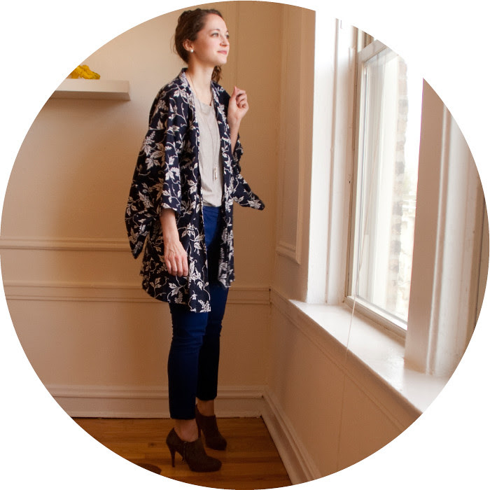 dash dot dotty, thrifted and altered, re-fashion, thrift style, what to wear with, cotton yukata, thrifted jacket, big sleeves, blue outfit, work outfit, print jacket, mossimo ankle pants, blue dress pants, ootd, outfit blog, wear to work