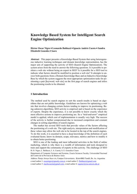 (PDF) Knowledge Base System for Intelligent Search Engine