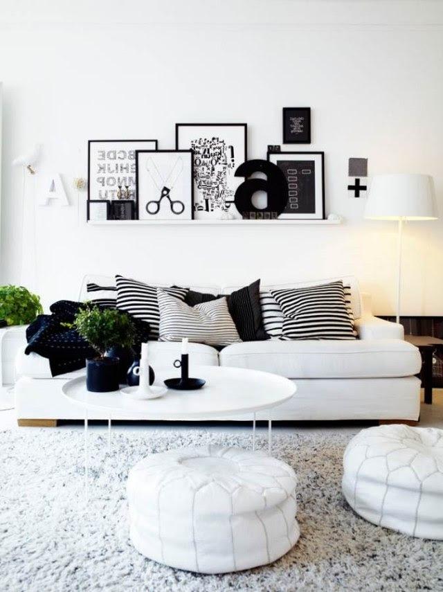Wohnzimmer einrichten: Ideen in Weiß, Schwarz und Grau