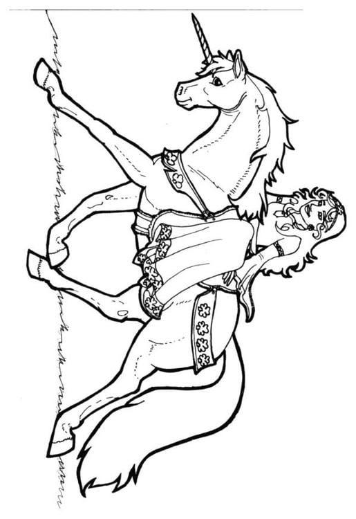 Malvorlage Prinzessin von Schamrock auf Einhorn Ausmalbild 7136.