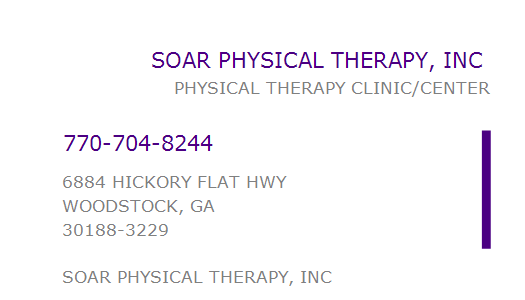 1083861785 Npi Number Soar Physical Therapy Inc Woodstock Ga Npi Registry Medical Coding Library Www Hipaaspace Com C 2020