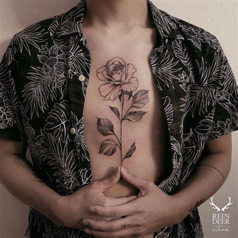 rose tattoo chest