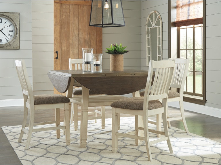 Signature Design By Ashley Dining Room Round Drop Leaf Counter Table