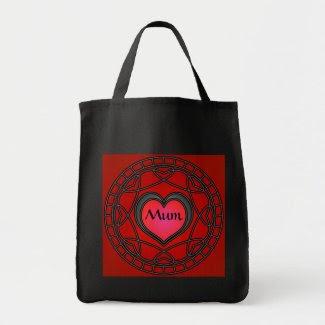 Mum Black/Red Hearts & Swirls Tote bag bag