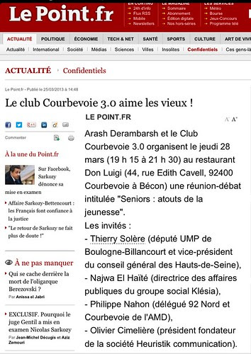 "Le Point (""Le Club Courbevoie 3.0 aime les vieux !""). Club fondé par Arash Derambarsh by Arash Derambarsh"
