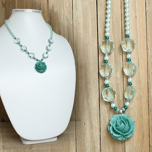 Aqua Blue Rose Necklace Blue Flower Necklace Resin Rose