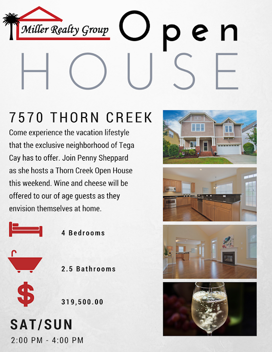 Wine and Cheese Open ~ Sat/Sun ~ 9/23 & 9/24 ~ 2PM - 4PM ~ 7570 Thorn Creek Lane, Tega Cay SC, 29708 • Homes Fort Mill and Homes Tega Cay