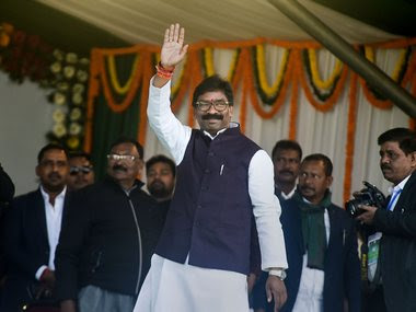 Jharkhand Chief Minister designate Hemant Soren arrives for his swearing-in ceremony. PTI