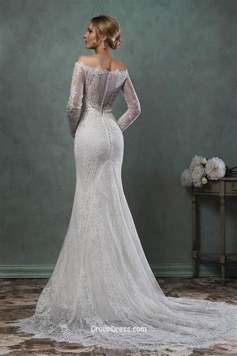 Popular Off Shoulder Wedding Dress Lace Sleeve Mermaid Buy