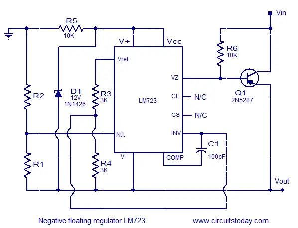 Lm723 negative floating voltage reaulator