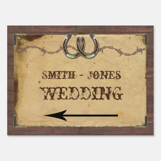 rustic Horseshoes Wedding Direction Country Sign sign makers  Rustic