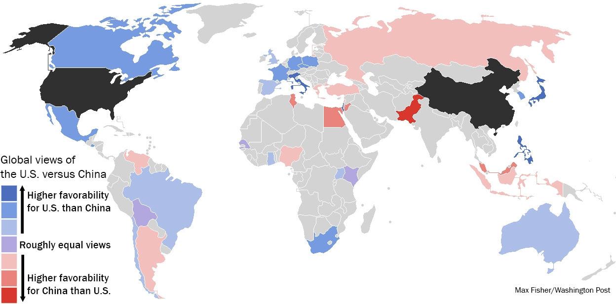 Países Azul ver os EUA de forma mais favorável do que fazem a China, os países vermelhos são o inverso.  Fonte de dados: Pew (Max Fisher / The Washington Post)