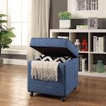 Posh Living Ruby Linen Modern Contemporary Hidden Storage Castered Legs Ottoman Cube - Blue