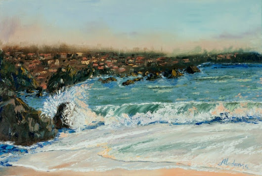 wave crashing rock oil painting sea ocean by AlinaMadanPaintings