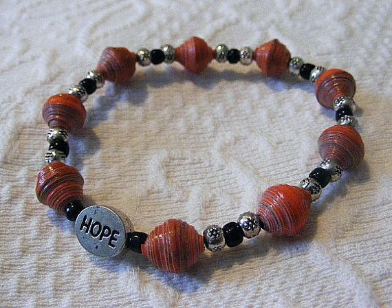 Hope Dark Salmon Colored Paper Bead Bracelet by ACollectiveJourney, $8.00